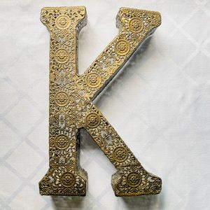 "Letter Initial Gold ""K"" Wall Art Accent Decor 7x11"